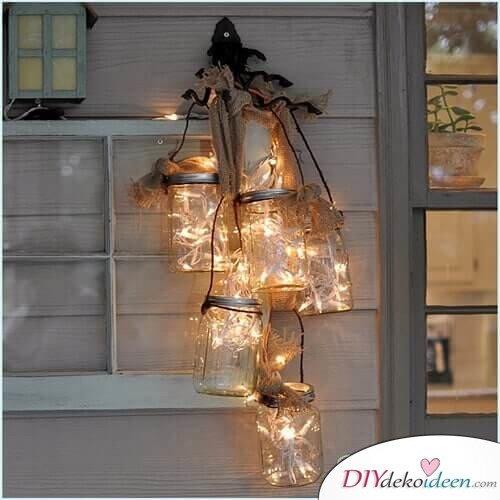 DIY Deko Ideen, Einweckgläser mit Lichterketten