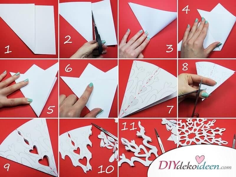 Schneeflocken Origarmi- aus Papier ausschneiden