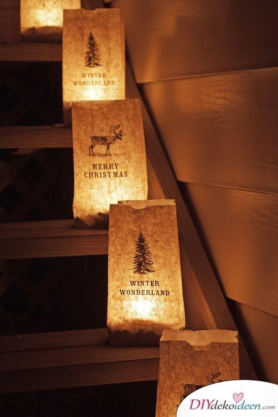 Merry Christmas- Papierlaternen basteln, leuchtende Gartendeko mit LED-Kerzen