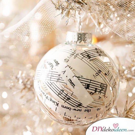 DIY Weihnachtsbaum-Schmuck aus Papier, DIY Weihnachtskugel mit Notenpapier