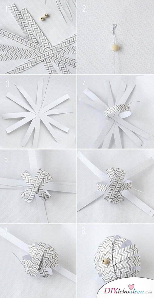 DIY Ideen aus Papier für das Weihnachtsbasteln, Weihnachtskugel selber basteln