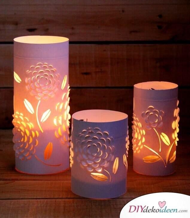 Deko-Kerzenhalter selber machen, Bastelidee mit Papier, 3D Effekt
