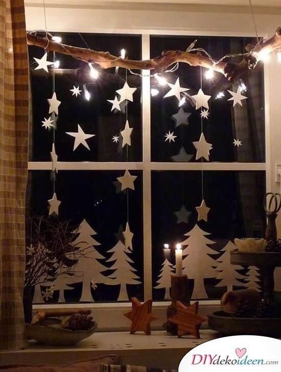 DIY Weihnachtsdeko und Bastelideen zu Weihnachten, skandinavische Deko, Weihnachtsschmuck aus Papier, Fensterdeko