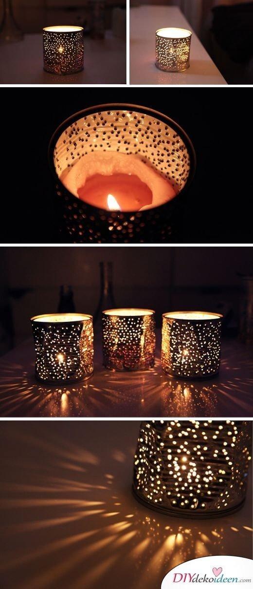 Deko-Kerzenhalter selber machen, Kerzenglas aus Konservdosen, Blechtdosen wiederverwenden