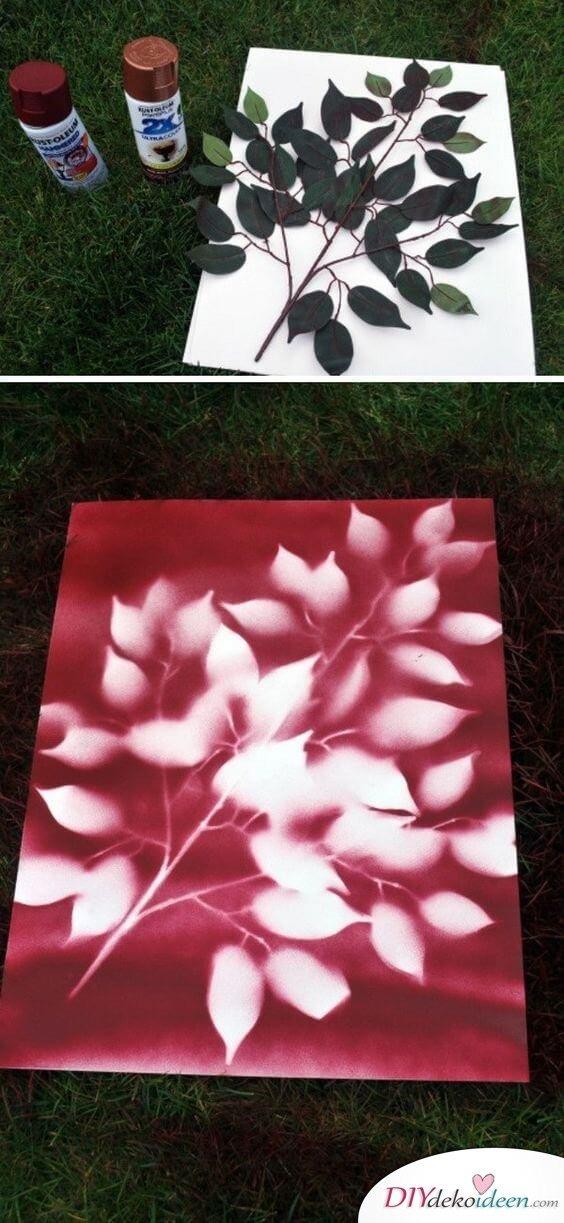 DIY Wohndeko Ideen Mit Spraydosen, Leinwandbild Besprühen, Herbst Deko,  Blätter