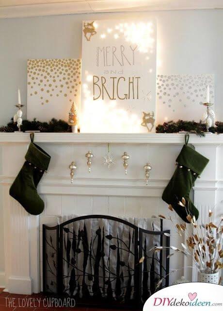 Weihnachtsdeko Ideen mit Lichterketten-leuchtendes Leinwandbild
