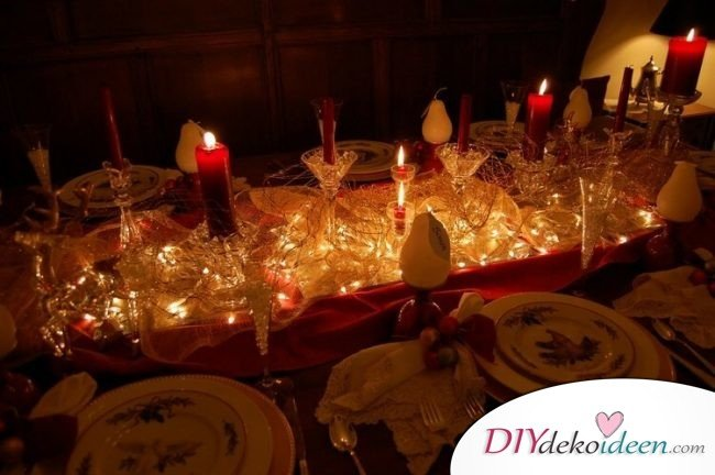 Weihnachtsdeko Ideen mit Lichterketten-Tischdeko mit Lichterketten gestalten