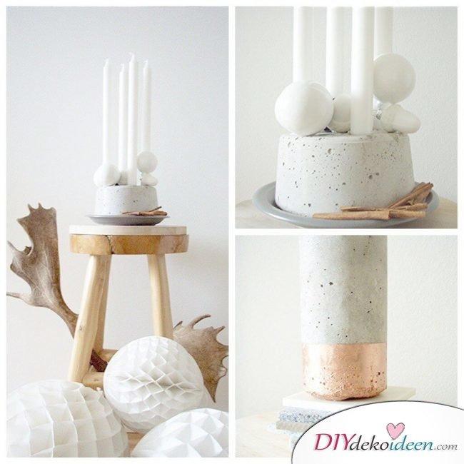 Deko-Kerzenhalter selber machen aus Beton, Bastelidee mit Beton