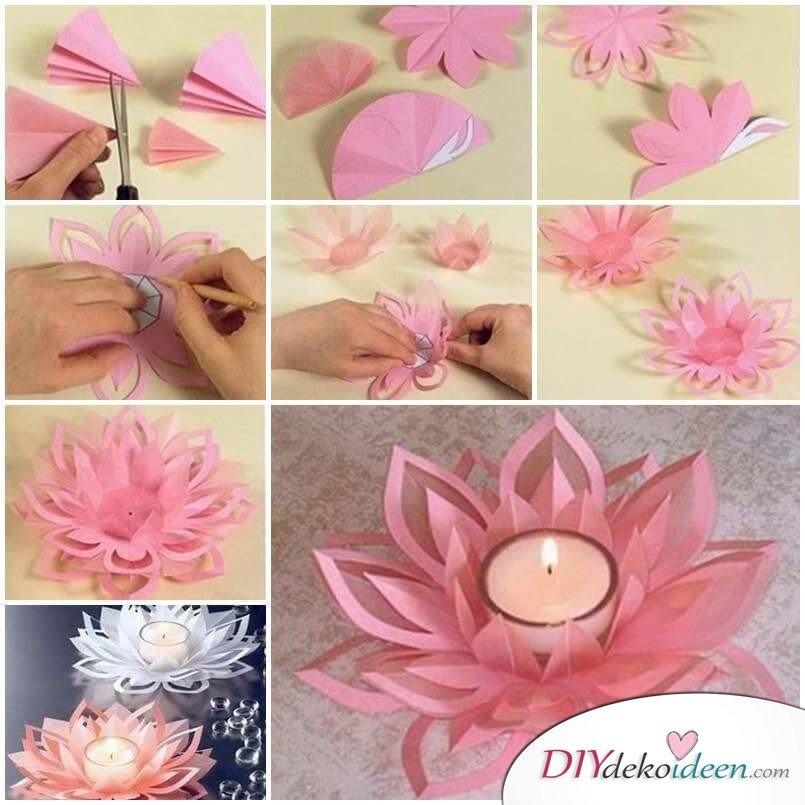 Deko-Kerzenhalter selber machen, Bastelidee mit Papier, Origami Lotus
