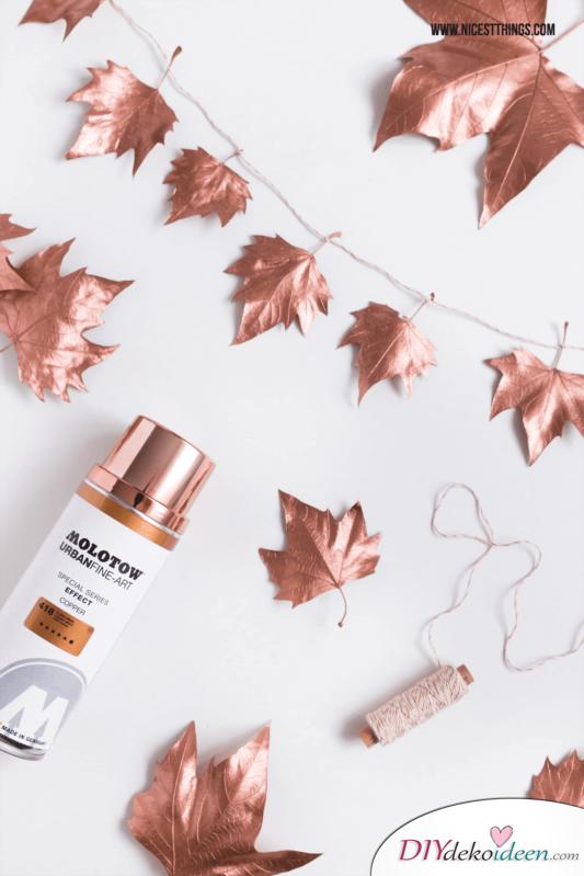 DIY Wohndeko-Ideen mit Spraydosen, Blätter besprühen, Herbst-Deko, Girlande