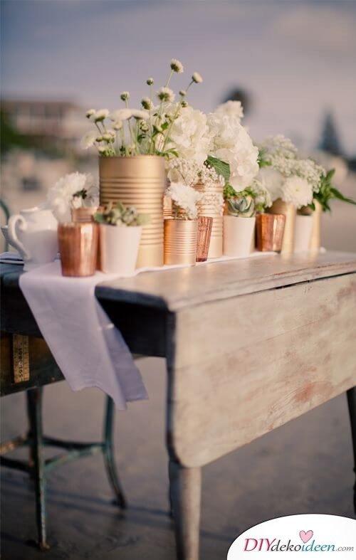 DIY Wohndeko-Ideen mit Spraydosen, Metalldosen besprühen, Topf für Gewürze und Pflanzen, Aufbewahrung, Hochzeitsdeko