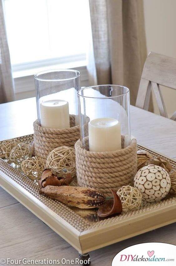 Deko-Kerzenhalter selber machen, Kerzenglas mit Schiffstau oder Naturschnur, Marinestil, Vintage-Kerzen