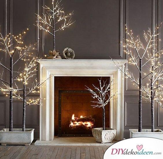 Weihnachtsdeko Ideen mit Lichterketten-leuchtende Zweige, Äste dekorieren