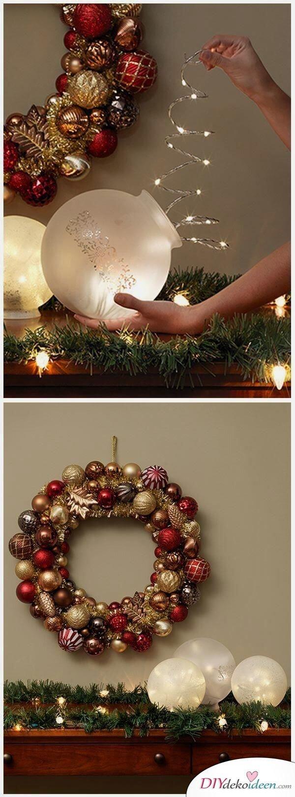 Weihnachtsdeko Ideen mit Lichterketten-leuchtende Deko-Kugel