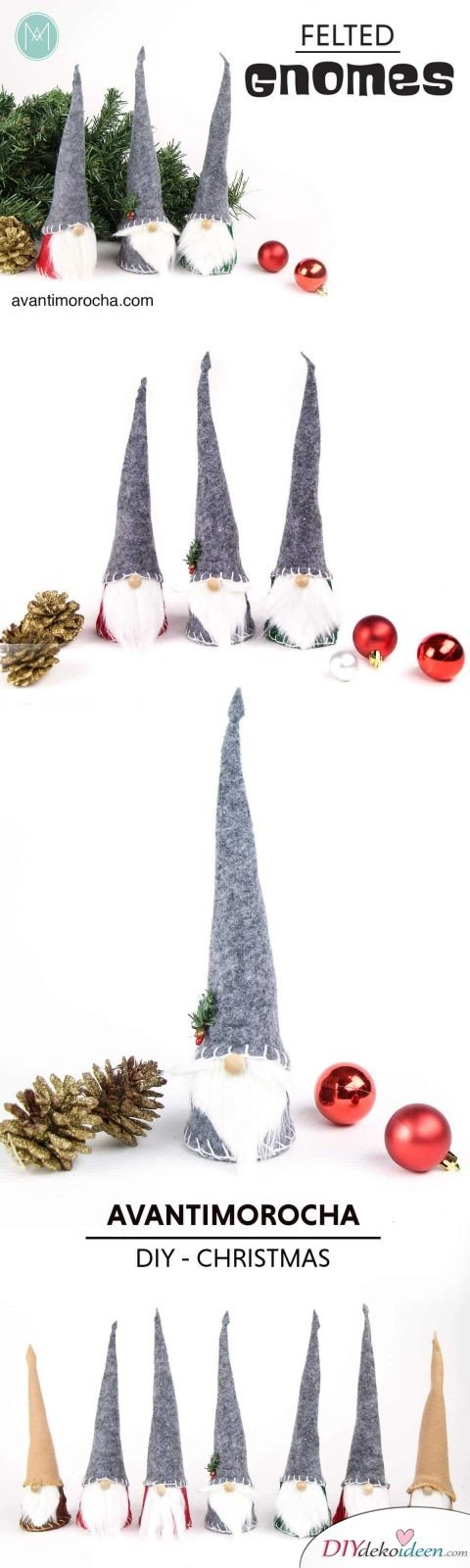 DIY Weihnachtsdeko und Bastelideen zu Weihnachten, skandinavische Weihnachts-Zwerge basteln