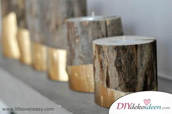 Deko-Kerzenhalter selber machen, Bastelidee mit Holz. DIY Rustikale Wohndeko