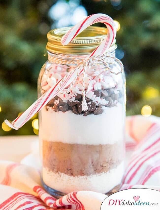 Weckgläser DIY für Weihnachtsgeschenkideen-Heiße Schokolade Mischung verschenken