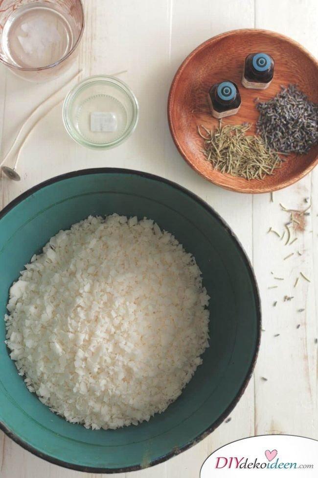 Weckgläser DIY für Weihnachtsgeschenkideen-Lavendel Rosmarin Duftkerze machen