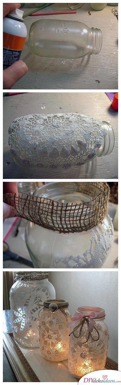Deko-Kerzenhalter selber machen, Marmeladenglas Bastelidee mit Spitze