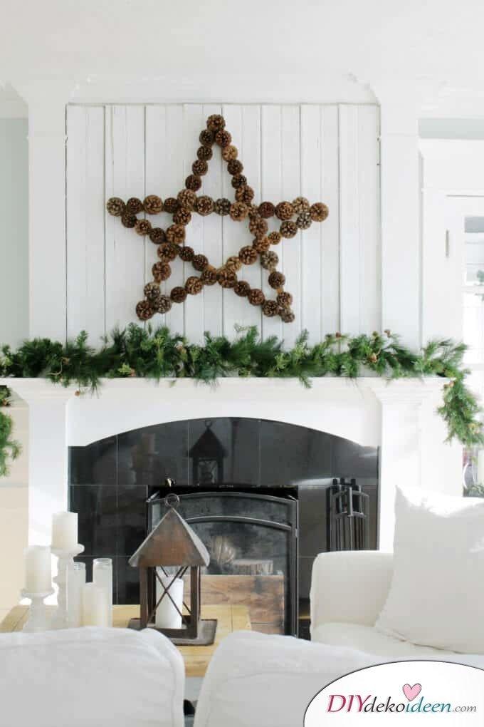DIY Weihnachtsdeko Bastelideen mit Tannenzapfen-Stern basteln