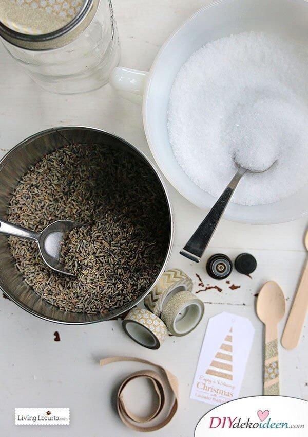 Weckgläser DIY für Weihnachtsgeschenkideen-Lavendel-Badesalz selber machen