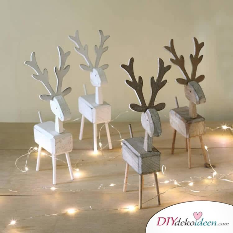 Skandinavische Weihnachtsdeko Selber Machen Holz Ideen  Hirsche Lichterkette Figuren Suess
