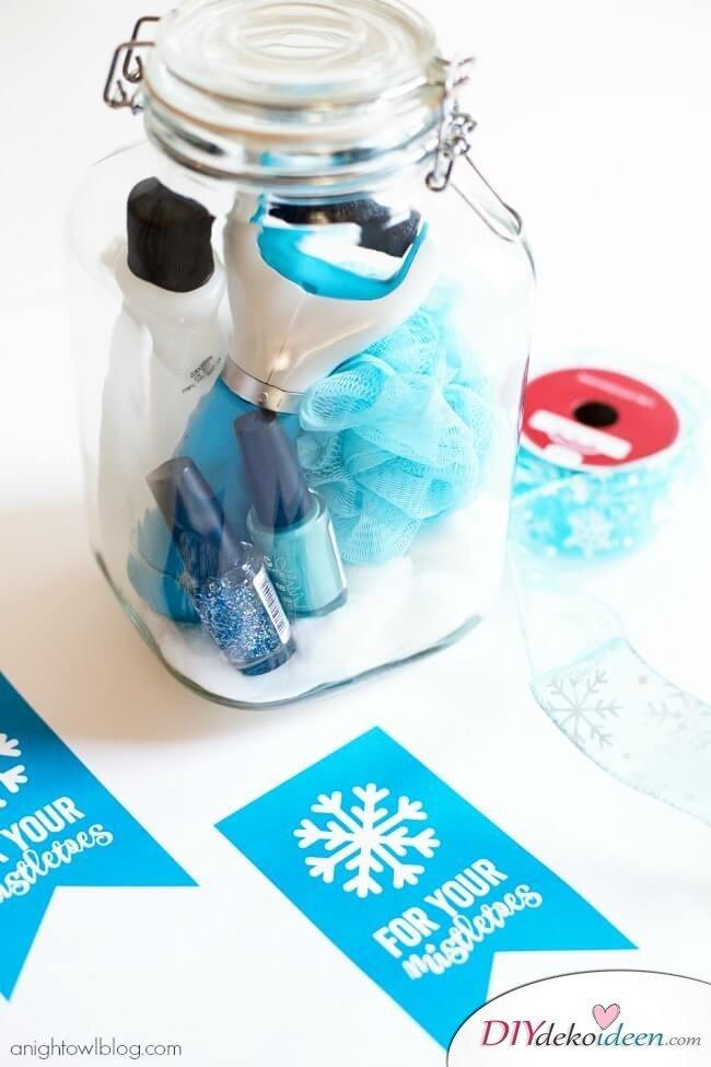 Weckgläser DIY für Weihnachtsgeschenkideen-Pediküre-Set verschenken
