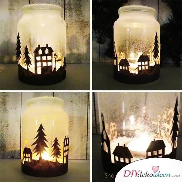 Weckgläser DIY für Weihnachtsgeschenkideen-Dekoglas basteln mit Kunstschnee und LED-Kerze