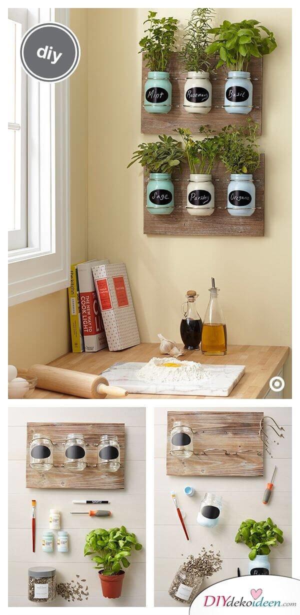 Küchenkräuter Deko selber basteln - DIY Wanddeko