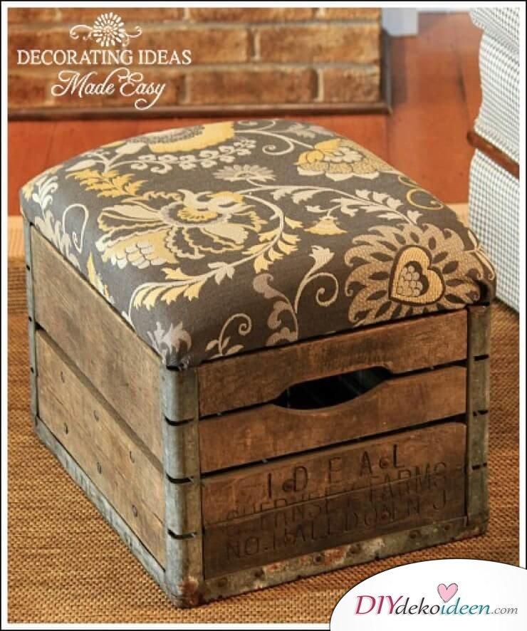 DIY Aufbewahrungsbox mit Sitz - Bastelideen mit Holzkisten
