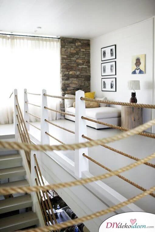 Handlaufseil Treppe Wohnidee - maritimes Wohndesign