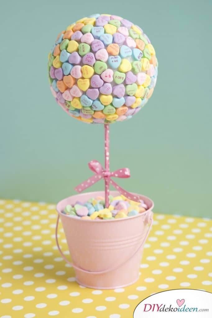 Zuckerherzenbäumchen - DIY Deko für den Valentinstag