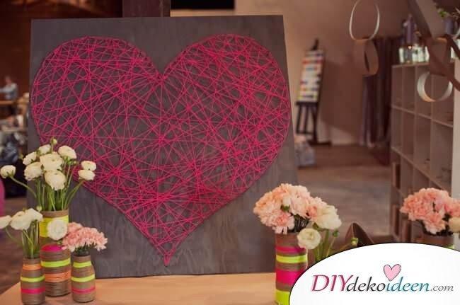 Herzbild aus Garn - DIY Dekoideen