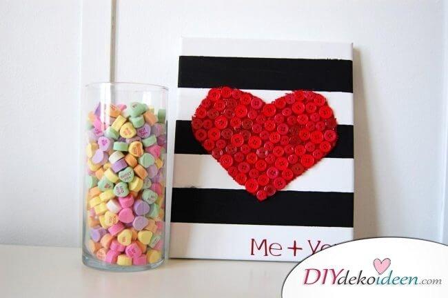 Herzbild aus Knöpfen - DIY Dekoideen mit Liebe