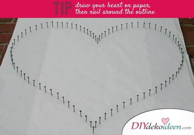 DIY Idee zum Valentinstag - Herzbild aus Garn