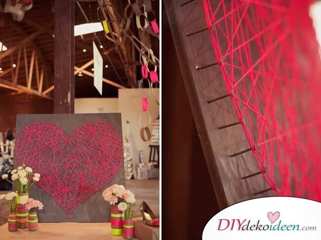 Herzbild aus Garn - DIY Idee zum Valentinstag