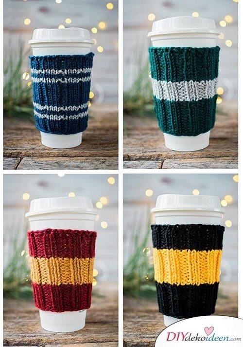 Kaffewärmer selber stricken - Strickprojekte zum Selbermachen