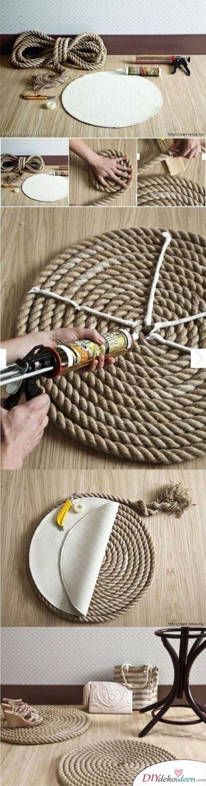 Teppich aus Schiffstau basteln - DIY Teppich