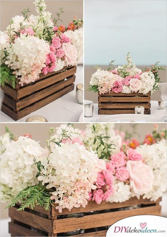 DIY Blumenkiste Tischdeko - rustikale Hochzeitsdeko