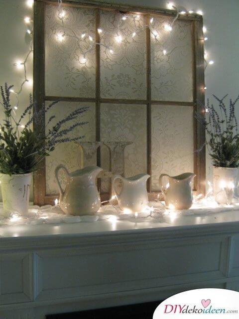 Fensterdeko mit Lichterketten - DIY vintage Wohnstil