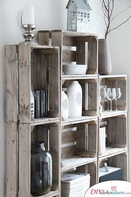 Kreative Wohndeko aus Holzkisten - DIY Vorzimmerschrank