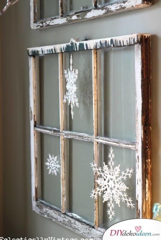 DIY Weihnachtsdeko selber machen mit Schneeflocken