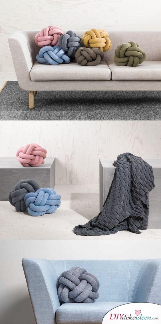 Knotenkissen Wohndeko - kreative Deko Ideen
