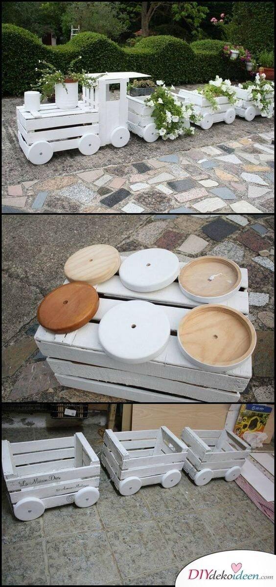 Garten gestalten - DIY Gartendeko Ideen: Zug basteln