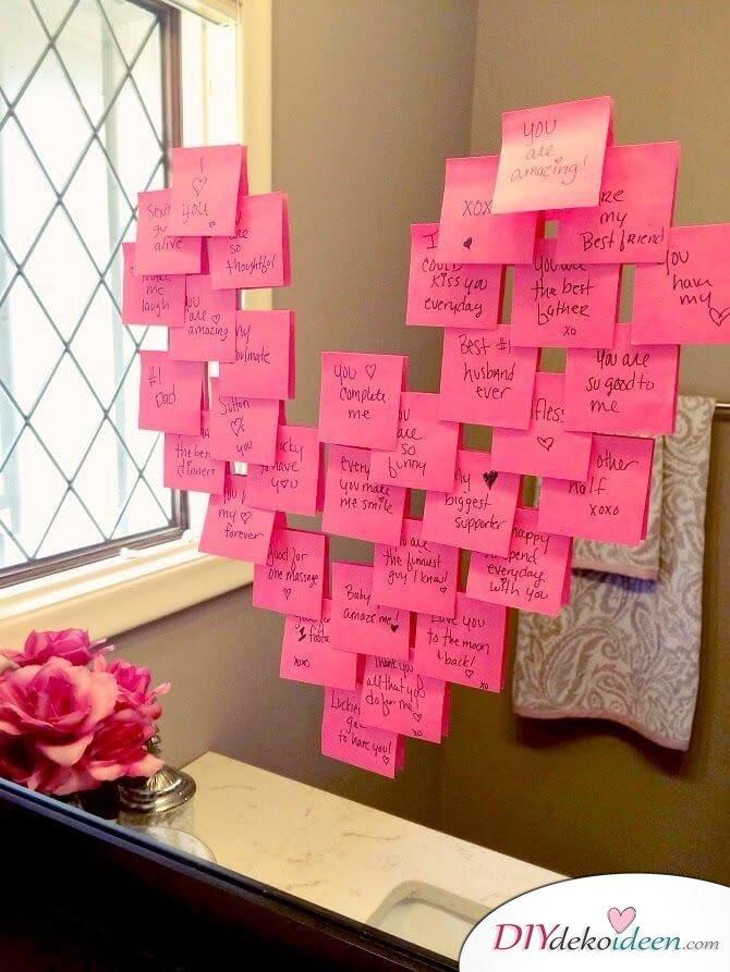 DIY Deko Ideen für den Valentinstag - Spiegel mit Liebesbotschaften dekorieren