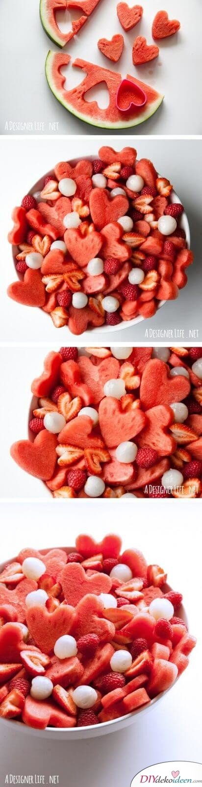 Leckere Rezepte zum Valentinstag - Obstsalat mit Melonen-Herzen