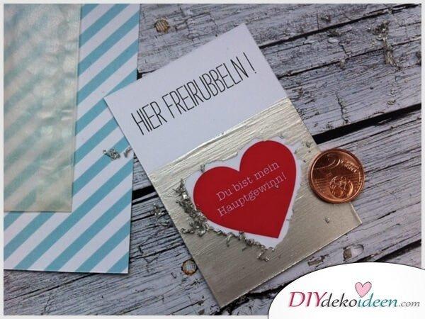 Karte zum Rubbeln - Liebesgeschenk zum Valentinstag
