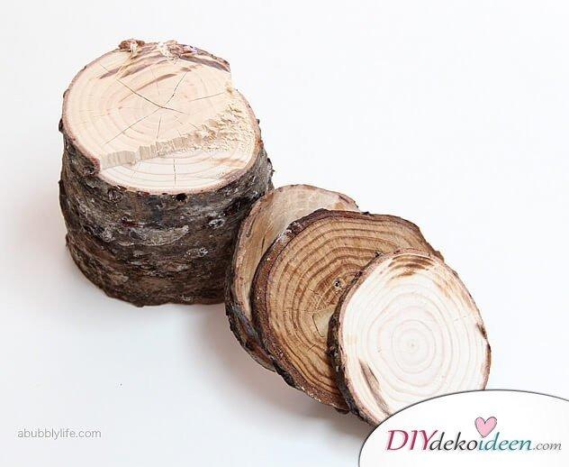 Süße Bastelidee - DIY Untersetzer aus Holz
