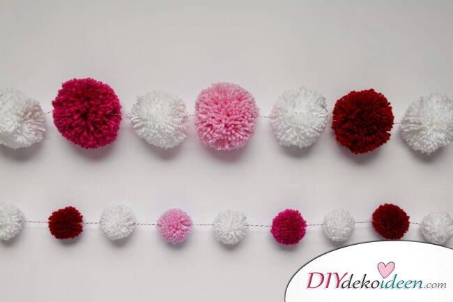 DIY Puschel-Girlande aus Garn für den Valentinstag