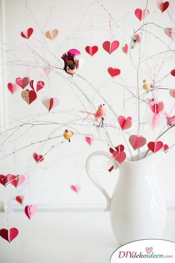 Romantisches DIY Valentinstagsbäumchen